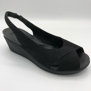 Crocs Leigh Ann Slingback Wedge Black